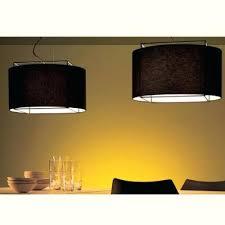 Large Drum Pendant Chandelier Fabric Drum Pendant Lighting Fixtures Black Light Shaded Wrought