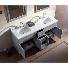 Ace  Inch Transitional Double Sink Bathroom Vanity Set In Grey - Quartz bathroom countertops with sinks