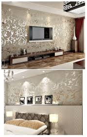 Living Room Ideas Gold Wallpaper Modern Victorian Damask Flock Velvet Textured Wall Paper Gray Gold