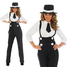 Pimp Halloween Costume Ladies Black Gangster Pinstripe Fancy Dress Suit Costume 20s Pimp