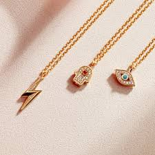 gold orange necklace images Mini lightning bolt biography pendant necklace yellow gold jpg