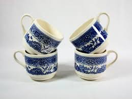 vintage blue willow usa pottery coffee cups set of 4