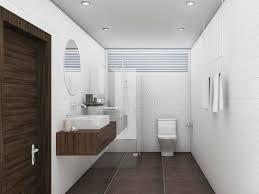 Bathroom White Brick Tiles - 3d rendering oak wood and white brick tile wall bathroom stock