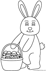easter bunny holding basket of easter eggs coloring page easter