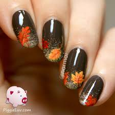 fall nail art autumn leaves on glitter gradient glaze fall
