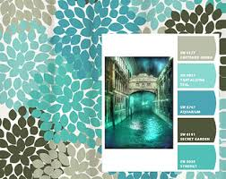 Blue And Green Shower Curtains Shower Curtain Blue Aqua Gray Venice Inspired Floral Standard