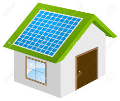 ecohouse with solar panels 3d model vector illustration isolated