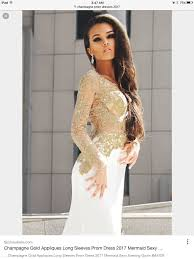 gold lace top and white satin mermaid prom dress with chapel train