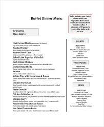 Sample Buffet Menus by Sample Menu 19 Documents In Pdf Word