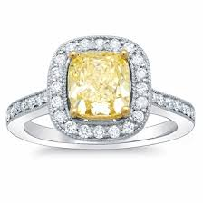 canary engagement ring cushion cut canary ring