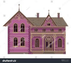 old town victorian house colonial home stock vector 667126939