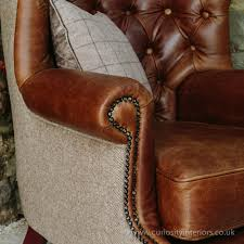 Leather Sofa And Armchair Tudor Leather Armchair With Chesterfield Style Button Back Detail