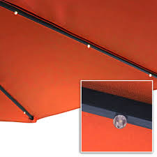 Patio Umbrella With Solar Led Lights by Sunnydaze Steel 10 Foot Offset Solar Led Patio Umbrella With