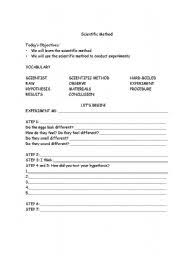 english worksheets scientific method