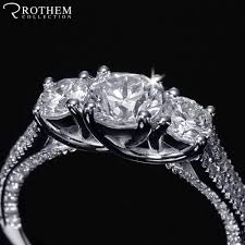 three stone trellis pave diamond engagement ring past present