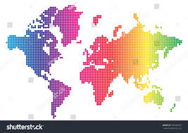 abstract world map spectral color dot stock vector 590290439