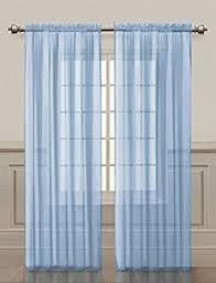 Powder Blue Curtains Decor 2 Solid Sky Blue Sheer Window Curtains Drape