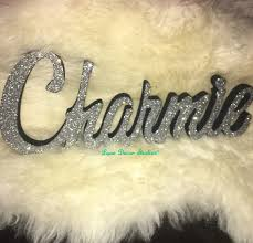 glittered name word signs personalized wooden name signs