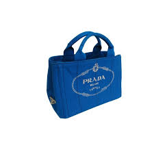 Canapã En Pin This Authentic Prada Tote Bag Is Made From Blue Canapa The Bag