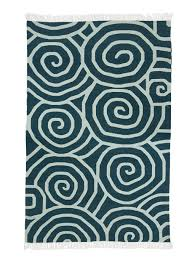 halakon dark blue and white cotton dhurrie rug mahout lifestyle
