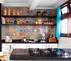 colorful pattern floral tile wall kitchen design with white