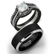 black wedding band sets stainless steel solitaire engagement wedding ring sets ebay