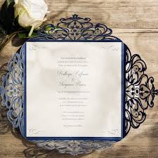 Navy Blue Wedding Invitations Navy Blue Laser Cut Wedding Invitation With Blush Pink Belly Band