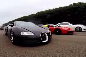 lamborghini veneno vs bugatti veyron race laferrari demolishes bugatti veyron in drag race