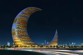 crescent moon tower beautiful dubai city lights night wallpaper