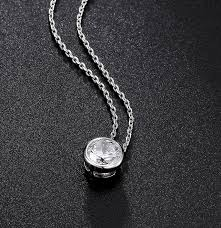 necklace zirconia images Simple round 1 carat cubic zirconia solitaire pendant necklace jpg