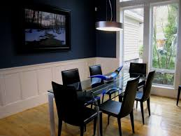 trendy navy blue dining room green wall with chairs and white