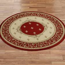 Floral Round Rugs 3 Round Area Rug Red Cream Floral Pattern Elegance Magnificent