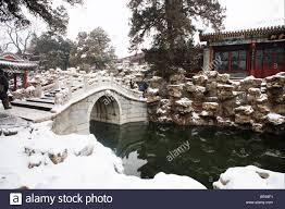 garden scene in winter beihai park beijing china stock photo
