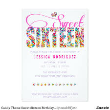 candy theme sweet sixteen birthday invitation candy theme