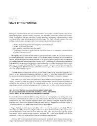 chapter one state of the practice emergency communications