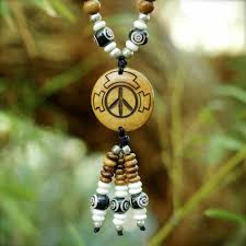 natural bead necklace images Peace symbol mala bead half size necklace natural natural w dzi jpg
