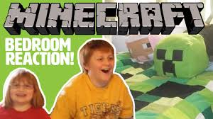 minecraft bedroom surprise makeover our kids react youtube