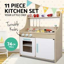 kids wooden pretend play kitchen set toy toddlers market home
