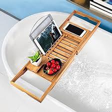 bathtub caddy with book holder amazon com bathtub tray oobest bamboo bathtub caddy tray with