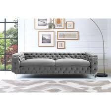 tufted gray sofa tov furniture tov s76 tufted grey velvet sofa on acrylic legs