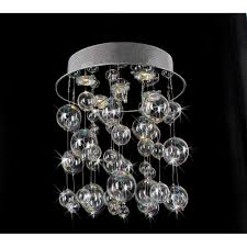Glass Blown Chandeliers by Chrome Ceiling Mount Chandelier With Hand Blown Bubble Glasses