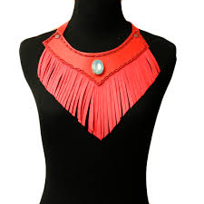 red leather necklace images Red leather fringe choker necklace leading urban wholesale jpg