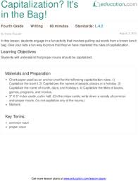 capitalization it s in the bag lesson plan education