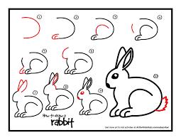 drawn rabbit basic pencil and in color drawn rabbit basic