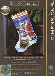 cross stitch kit gold collection holiday glow christmas stocking