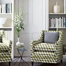 living room arm chairs living room with geometric printed armchairs living room ideas
