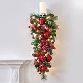 Cordless Sconce Holiday Greenery Hammacher Schlemmer