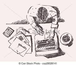 eps vector of sketch of man with computer office work hand drawn