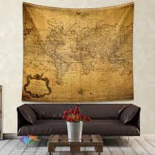 vintage world map wall tapestry steampunk ancient world map wall