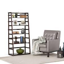 Leaning Ladder Bookcases by Amazon Com Simpli Home Acadian Ladder Shelf Bookcase Rich